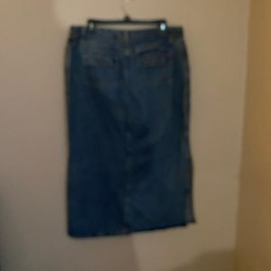 Full length jean skirt, pockets, size 14